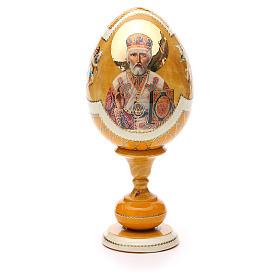 Uovo legno découpage russa Giglio Bianco tot h 20 cm stile Fabergè s1