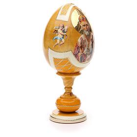 Uovo legno découpage russa Giglio Bianco tot h 20 cm stile Fabergè s4