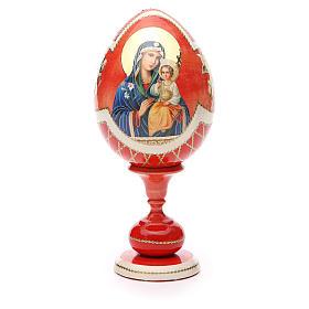 Uovo legno découpage russa Giglio Bianco tot h 20 cm stile Fabergè s5