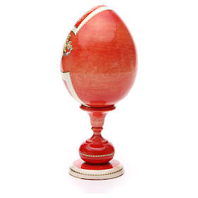 Uovo legno découpage russa Giglio Bianco tot h 20 cm stile Fabergè s7