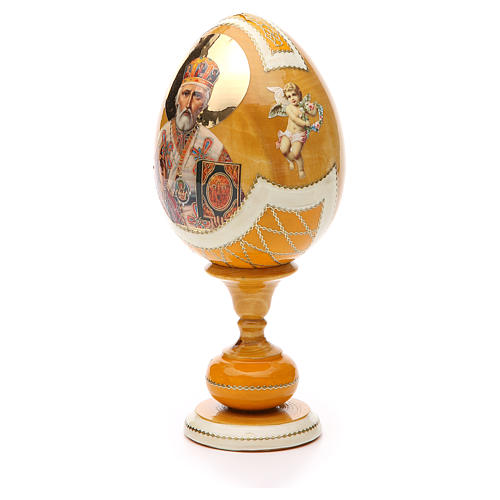 Uovo legno découpage russa Giglio Bianco tot h 20 cm stile Fabergè 2