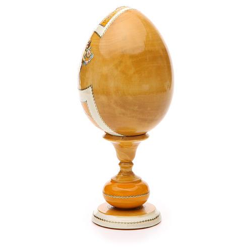 Uovo legno découpage russa Giglio Bianco tot h 20 cm stile Fabergè 3