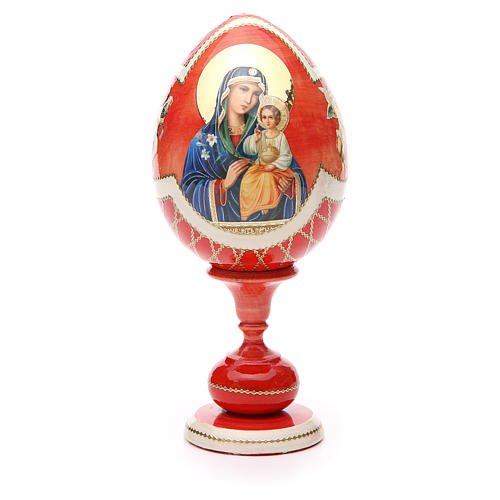 Uovo legno découpage russa Giglio Bianco tot h 20 cm stile Fabergè 5