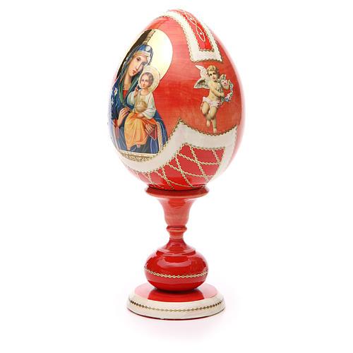 Uovo legno découpage russa Giglio Bianco tot h 20 cm stile Fabergè 6