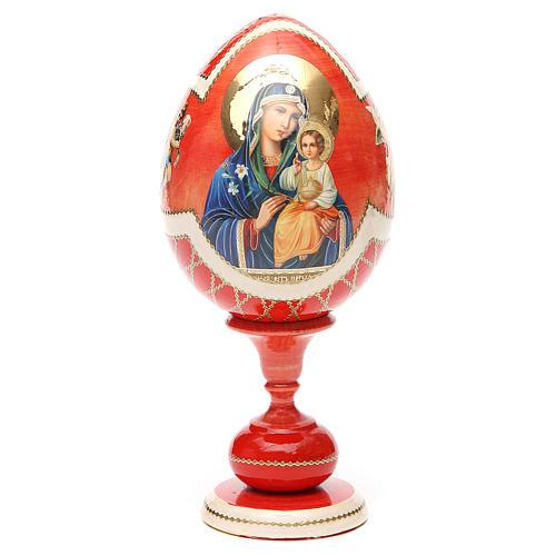 Uovo legno découpage russa Giglio Bianco tot h 20 cm stile Fabergè 9