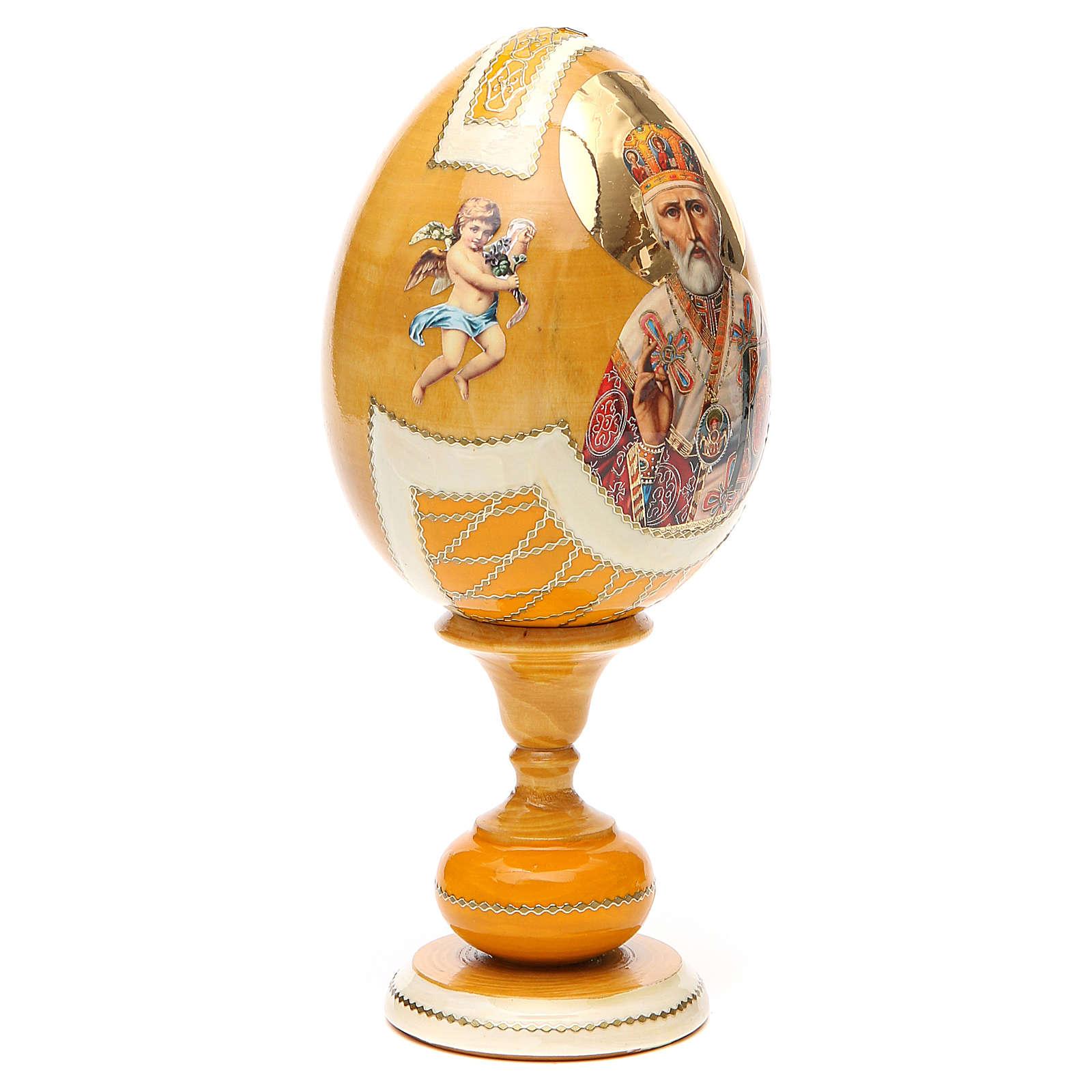 Uovo découpage russa San Nicola tot h 20 cm stile Fabergè 4
