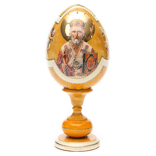 Uovo découpage russa San Nicola tot h 20 cm stile Fabergè 1