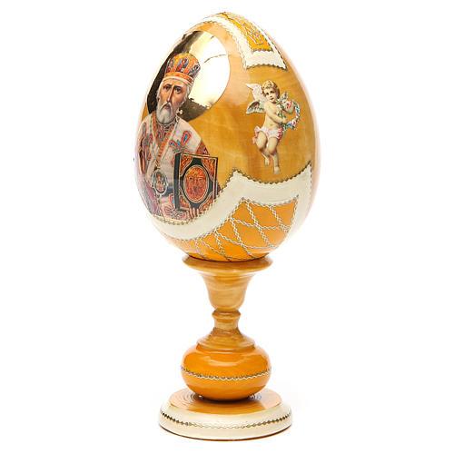Uovo découpage russa San Nicola tot h 20 cm stile Fabergè 2