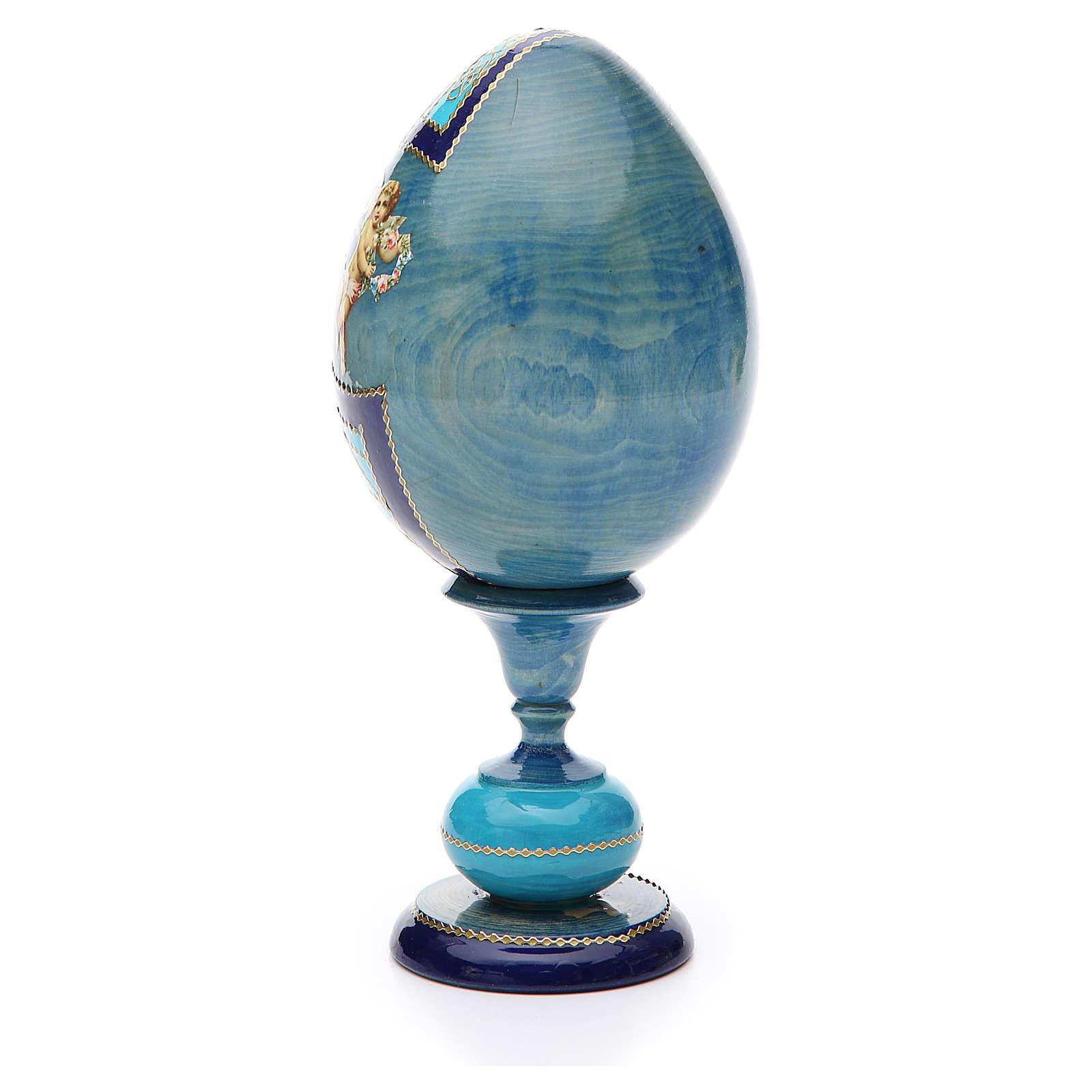 Uovo découpage russa Angelo Custode tot h 20 cm stile Fabergè 4