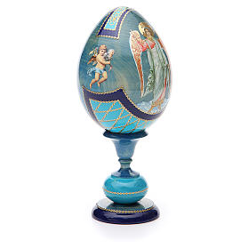 Uovo découpage russa Angelo Custode tot h 20 cm stile Fabergè s4