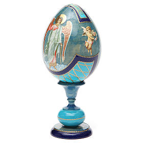 Uovo découpage russa Angelo Custode tot h 20 cm stile Fabergè s6