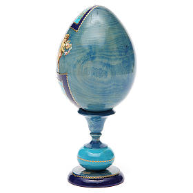 Uovo découpage russa Angelo Custode tot h 20 cm stile Fabergè s7