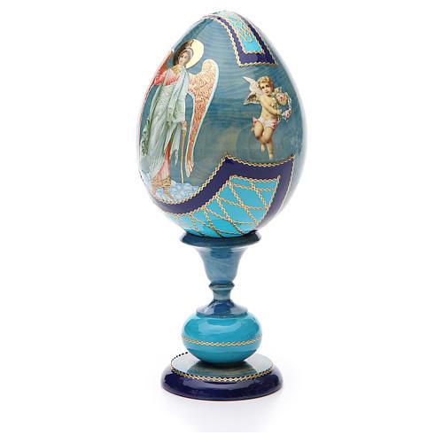 Uovo découpage russa Angelo Custode tot h 20 cm stile Fabergè 2