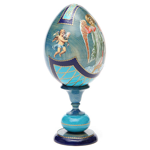 Uovo découpage russa Angelo Custode tot h 20 cm stile Fabergè 8