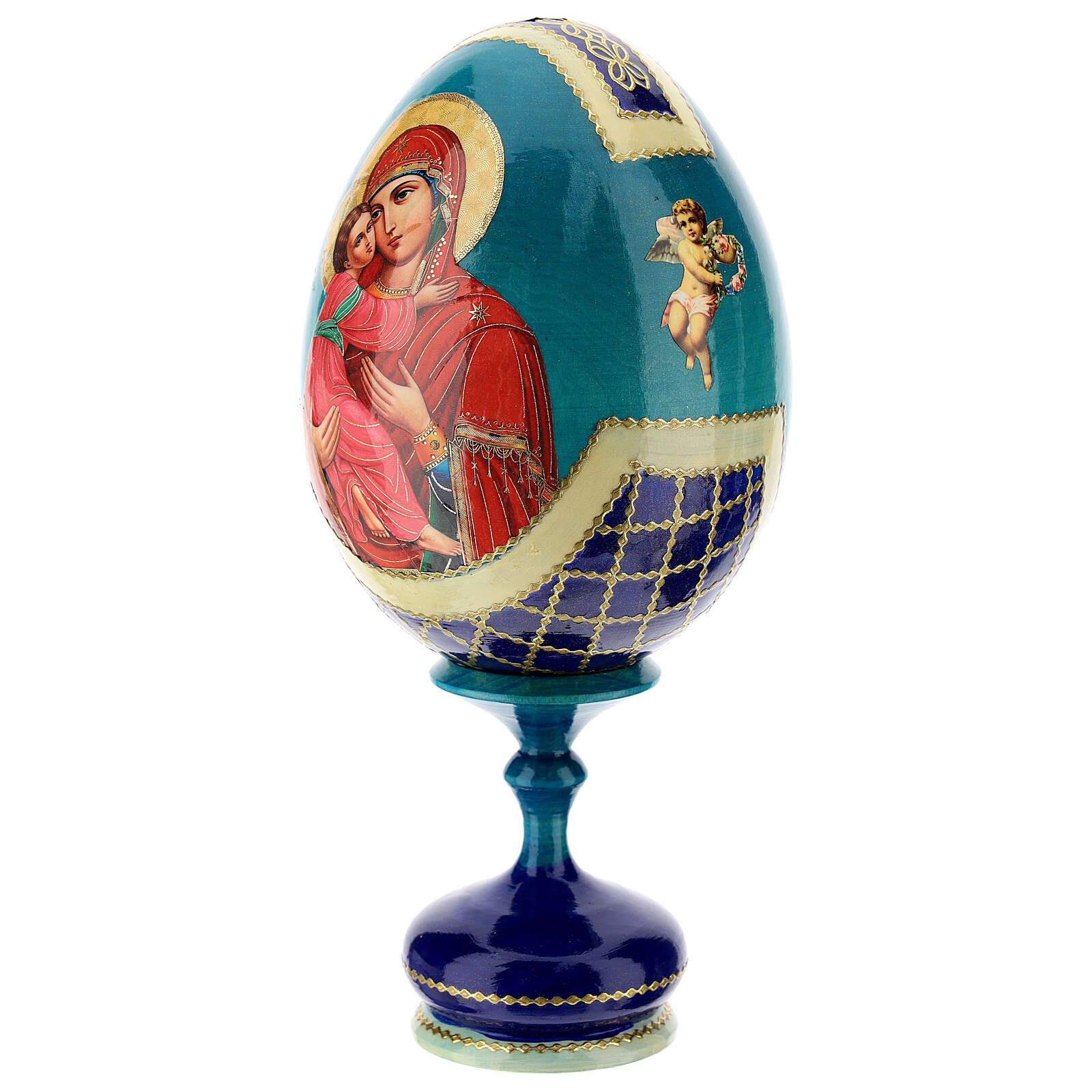 Russian Egg Theotokos of Vladimir découpage, Fabergè style 20cm 4