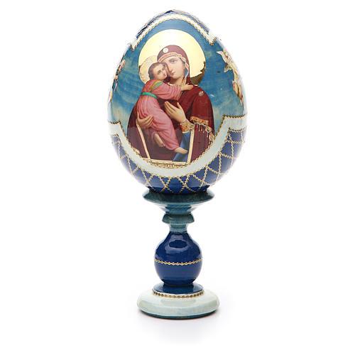 Russian Egg Theotokos of Vladimir découpage, Fabergè style 20cm 1