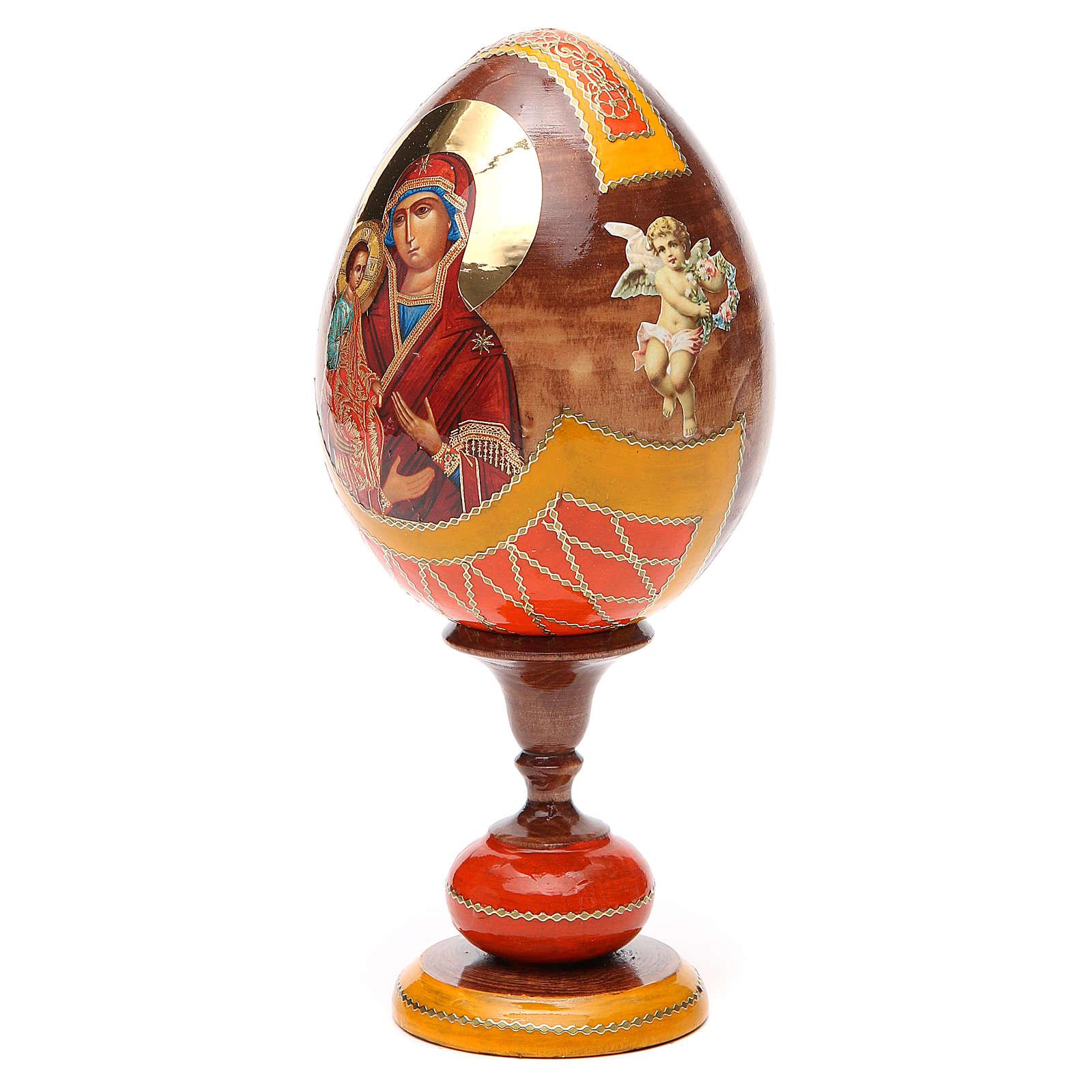Oeuf bois découpage Russie Trois Mains h 20 cm style Fabergé 4