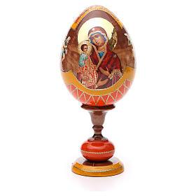 Oeuf bois découpage Russie Trois Mains h 20 cm style Fabergé s1