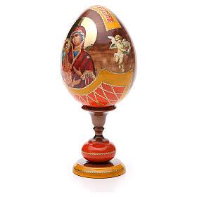 Oeuf bois découpage Russie Trois Mains h 20 cm style Fabergé s2