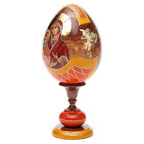 Oeuf bois découpage Russie Trois Mains h 20 cm style Fabergé s6