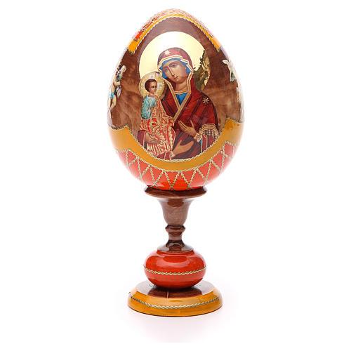 Oeuf bois découpage Russie Trois Mains h 20 cm style Fabergé 1