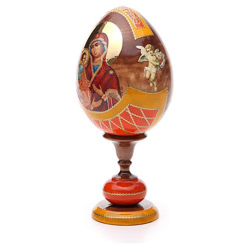 Oeuf bois découpage Russie Trois Mains h 20 cm style Fabergé 2