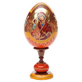 Uovo legno découpage Russia Tre Mani tot h 20 cm stile Fabergè s5