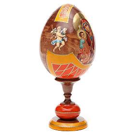 Uovo legno découpage Russia Tre Mani tot h 20 cm stile Fabergè s8