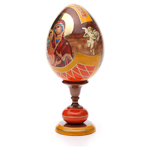 Uovo legno découpage Russia Tre Mani tot h 20 cm stile Fabergè 2