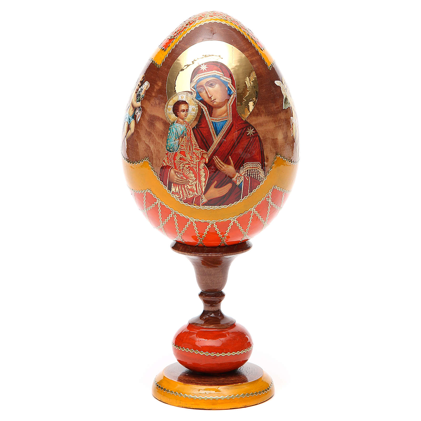Russian Egg Three Hands Virgin découpage, Fabergè style 20cm 4