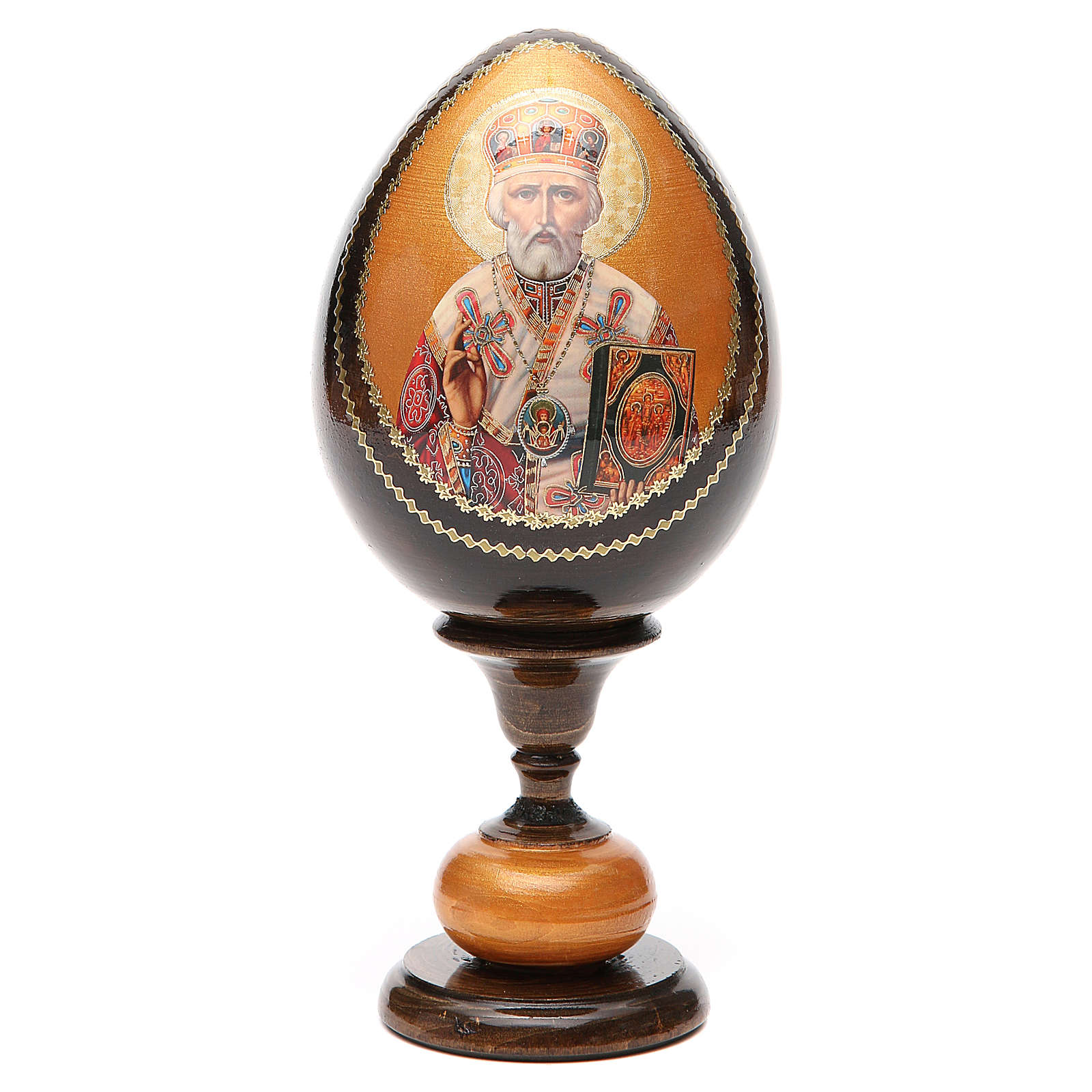 Uovo icona découpage Russia San Nicola tot h 20 cm 4