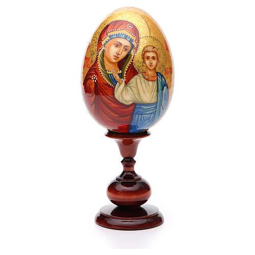 Huevo ruso de madera PINTADO A MANO Kazanskaya altura total 20 cm 1