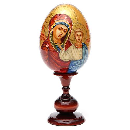 Huevo ruso de madera PINTADO A MANO Kazanskaya altura total 20 cm 5