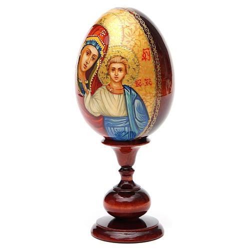 Huevo ruso de madera PINTADO A MANO Kazanskaya altura total 20 cm 6