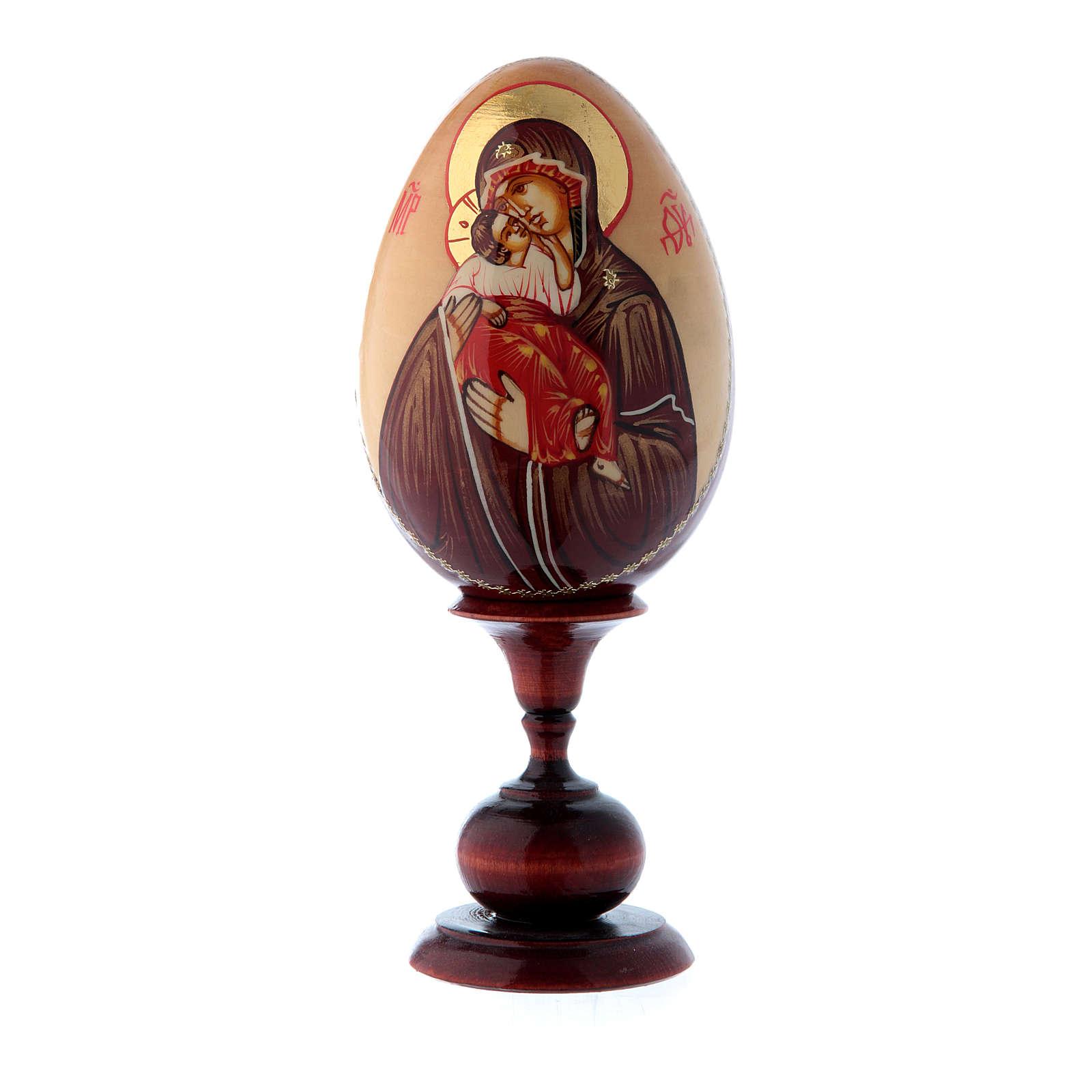 Oeuf icône russe PEINTE À LA MAIN Vladimirskaya tot h 20 cm 4