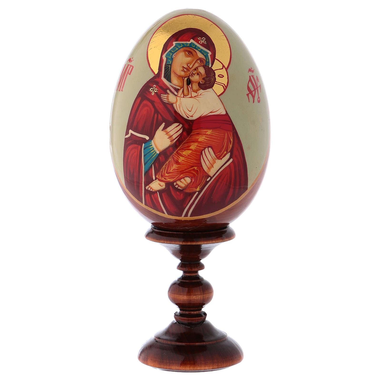 Uovo icona Russa DIPINTA A MANO Vladimirskaya tot h 20 cm 4