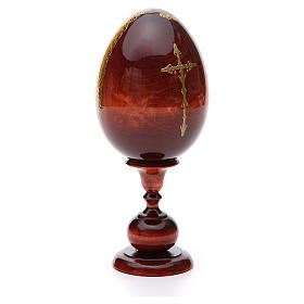 Huevo ruso de madera PINTADO A MANO Sagrada Familia altura total 20 cm s3