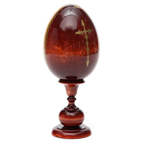 Huevo ruso de madera PINTADO A MANO Sagrada Familia altura total 20 cm 7