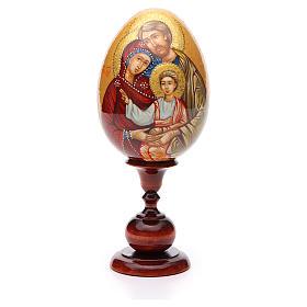 Uovo icona Russa DIPINTA A MANO Sacra Famiglia tot h 20 cm s1