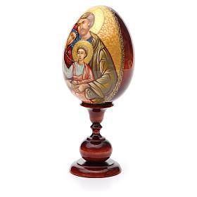 Uovo icona Russa DIPINTA A MANO Sacra Famiglia tot h 20 cm s2