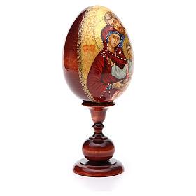 Uovo icona Russa DIPINTA A MANO Sacra Famiglia tot h 20 cm s4