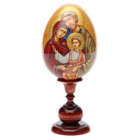 Uovo icona Russa DIPINTA A MANO Sacra Famiglia tot h 20 cm s5