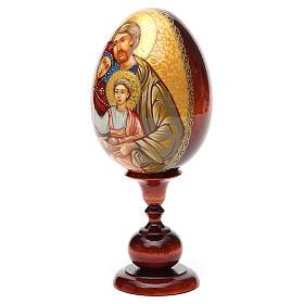 Uovo icona Russa DIPINTA A MANO Sacra Famiglia tot h 20 cm s6