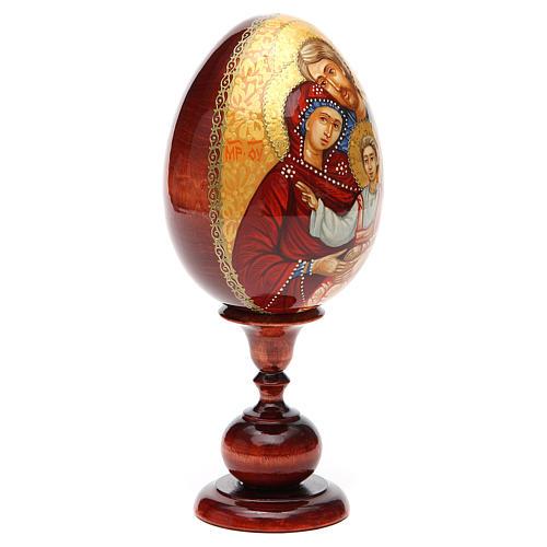 Uovo icona Russa DIPINTA A MANO Sacra Famiglia tot h 20 cm 8