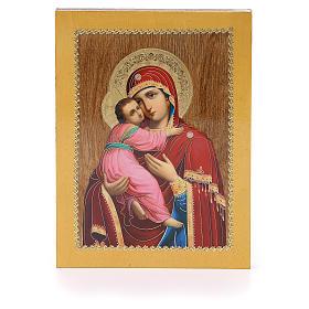 Icônes imprimées sur bois et pierre: Icône russe Vladimirskaya 20x15 cm