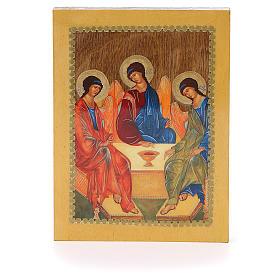 Icônes imprimées sur bois et pierre: Icône russe Trinité de Roublev 20x15 cm