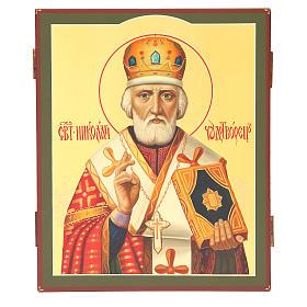 Icona russa dipinta San Nicola 26x22 cm s1