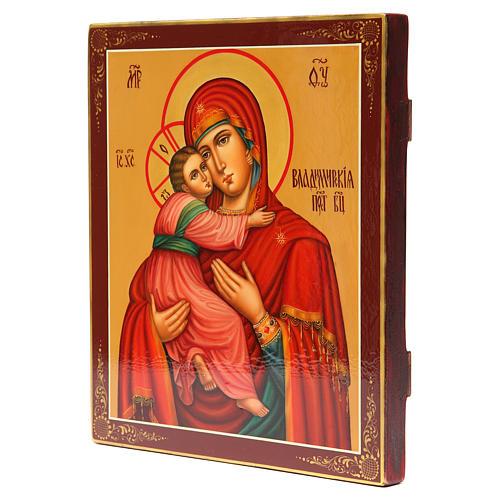 Icona russa dipinta Vladimirskaya 31x26 cm 2