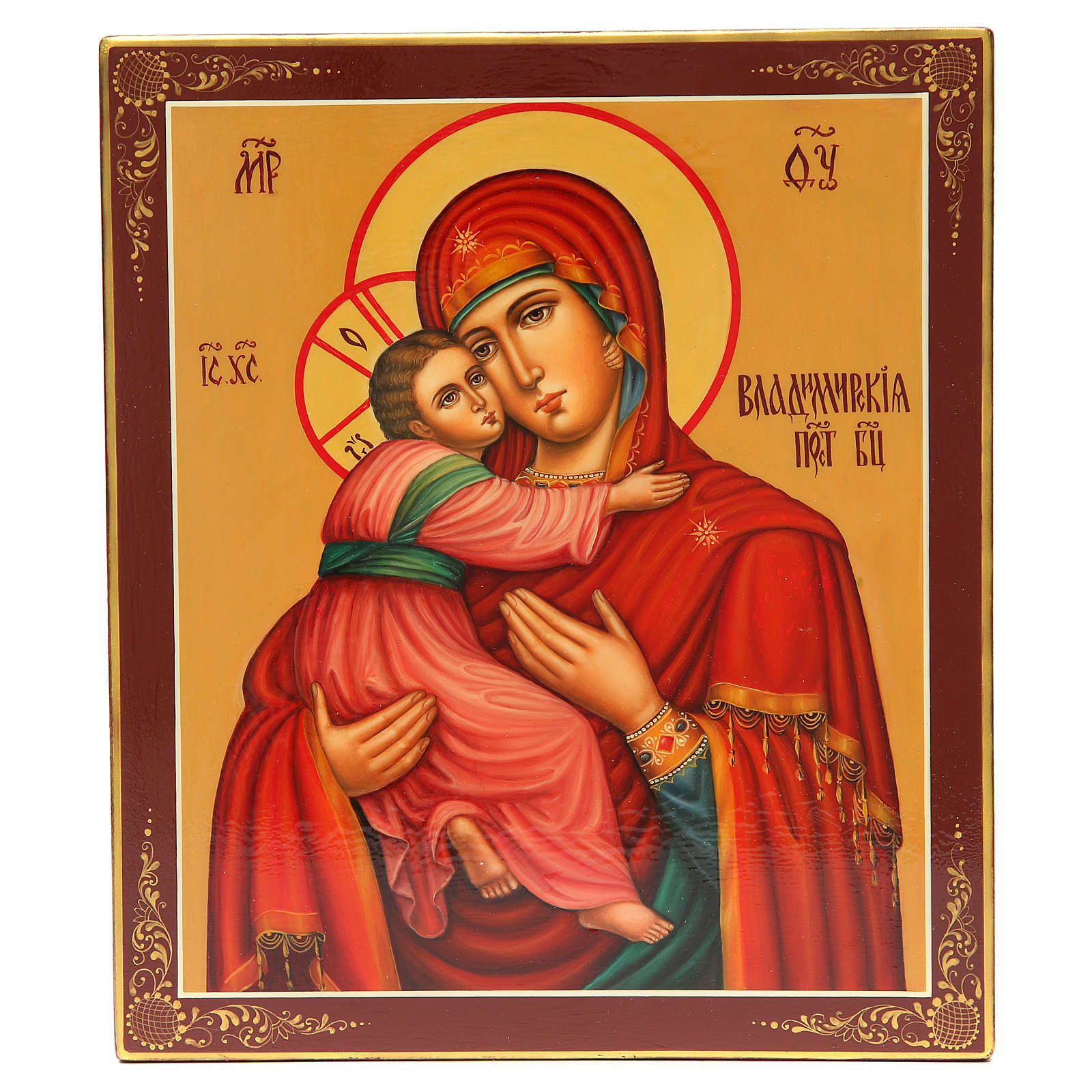 Ícone Russo Pintado Vladimirskaya 31x26 cm 4