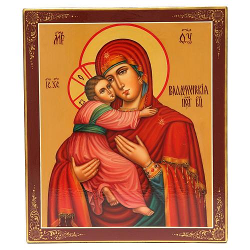 Ícone Russo Pintado Vladimirskaya 31x26 cm 1